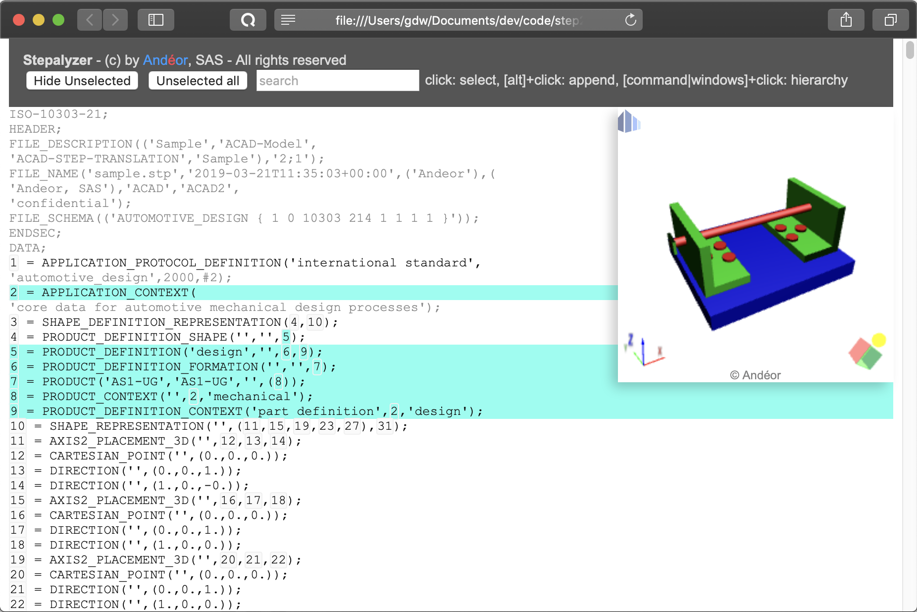 Obtain an interactive analysis Web page with embedded 3D viewer from any Step file.