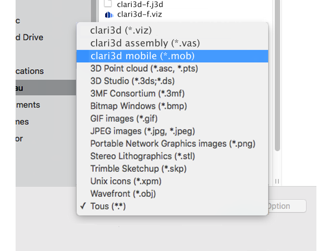 3D CAD formats that Clari3D Pro can open for free
