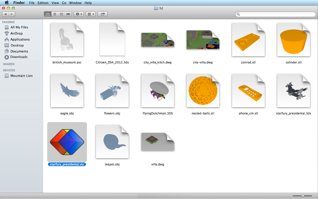Preview 3D in Finder